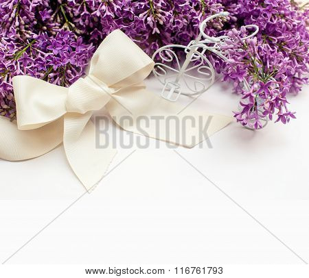 Illustration Of Bouquet From Lilac Lilies With Frame