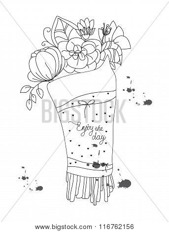 background with a monochromatic pattern of flowers in the bouquet