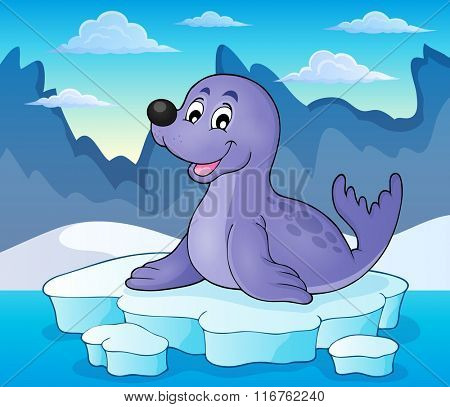 Happy seal on iceberg theme 2 - eps10 vector illustration.