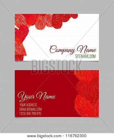 Visiting card with hand drawn hearts.
