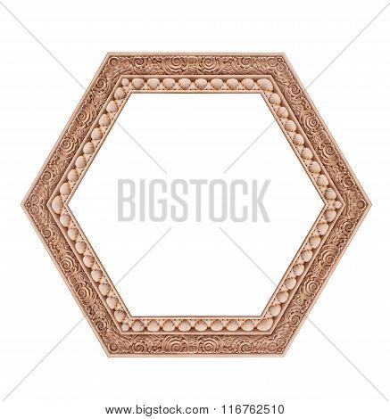 Beautiful Hexagonal Frame Isolated On A White Background