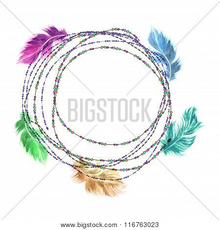 Hand Drawn Watercolor Colorful Green, Blue, Purple Bird Feather Set Arranged On A String Of Beads
