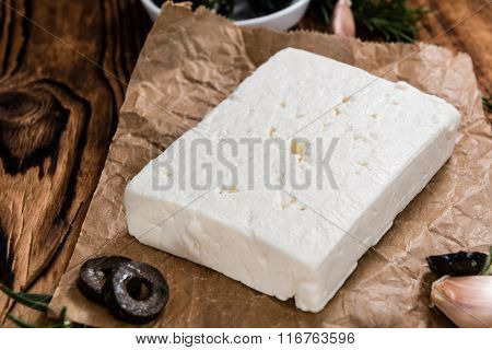 Pieces Of Fresh Feta Cheese
