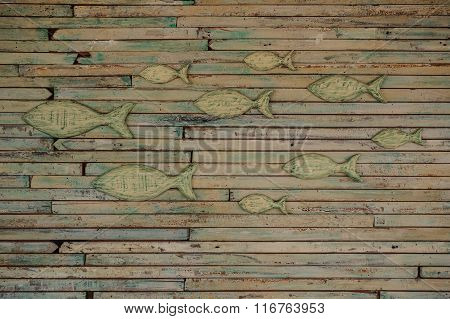 The Wall Covered With Fish Wooden Art Work