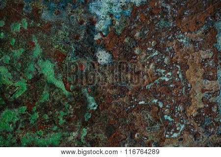 Multicolored Background: Rusty Metal Surface Flaking And Cracking Texture