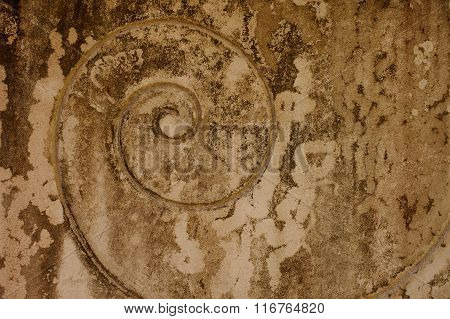 Spiral On Old Beige Plaster Wall