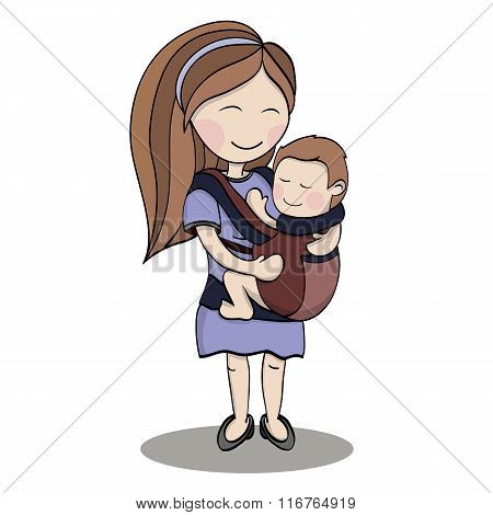Happy cartoon characters, mother carrying a child u