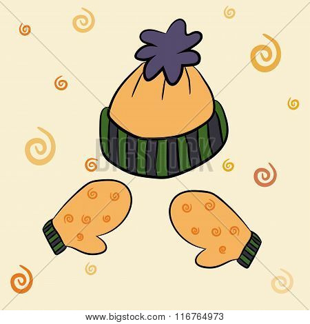 Winter hat and mittens vector illustration set