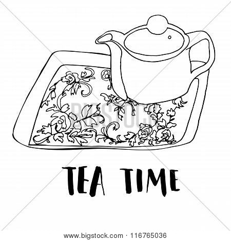 Graphic freehand drawn tea set