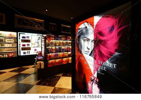 HONG KONG - JANUARY 28, 2016: interior of Victoria's Secret store. Victoria's Secret is the largest American retailer of women's lingerie. The company sells lingerie, womenswear, and beauty products