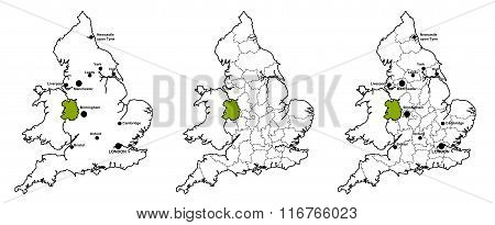 Shropshire located on map of England