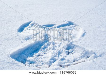 Background Of White Snow With Frame Of Angel