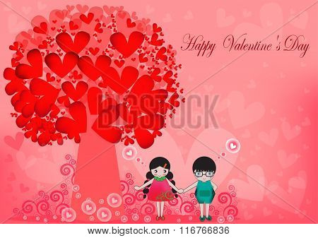 Pretty Cartoon Couple Stock Vector,Vector illustration of Valentine card ,flat design,Valentine Day,