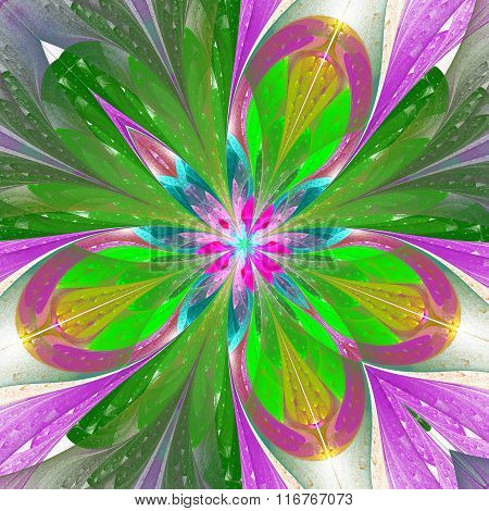 Beautiful Fractal Flower Or Butterfly In Stained Glass Window Style. Element Of Decor in Green