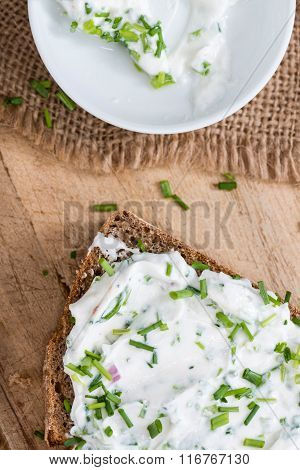 Slice Of Bread With Fresh Made Herb Curd