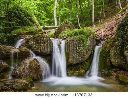 Scene with waterfall in green forest
