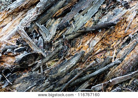 abstract wooden surface with frost