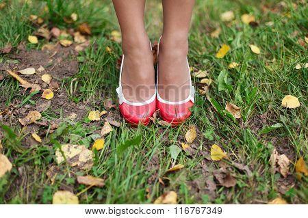 Girl's Feet Inshoes Standing On Grass