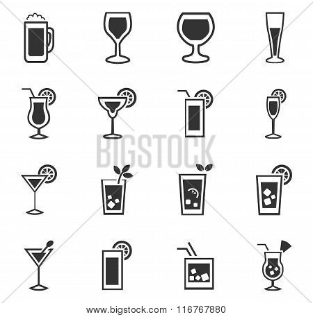Glasses and cups icons set