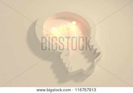 Lamp 3D Outline Icon. Idea Text