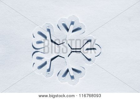 stencil of paper snowflakes on a white background