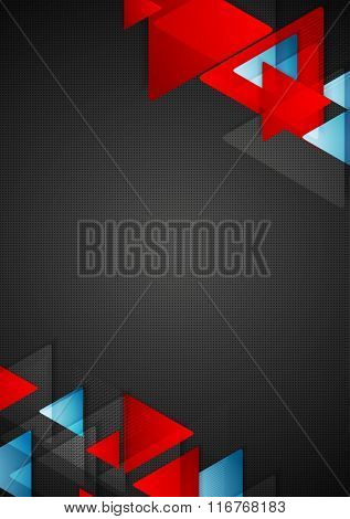 Abstract blue red triangles on black background. Vector graphic flyer design