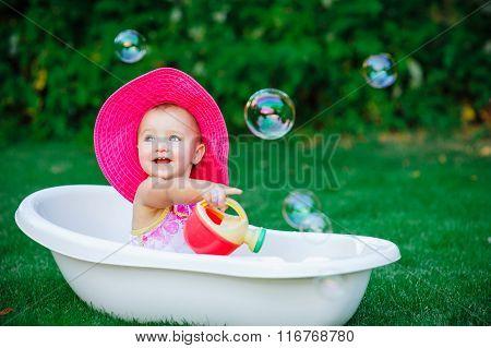 Child Bathing  With Foam Bath