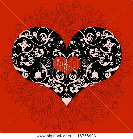 Hand drawn artistically ethnic ornamental patterned heart with romantic doodle elements of St. Valen