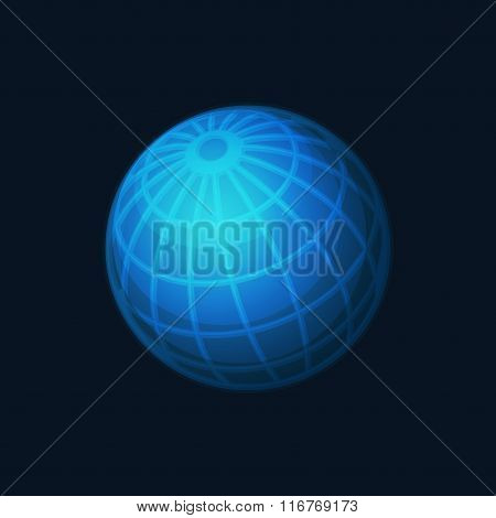 Blue Globe Network Icon on Dark Background. Vector