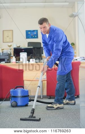 vacuum cleaning in the office