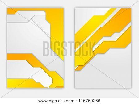 Abstract orange grey geometric tech flyer design. Vector background