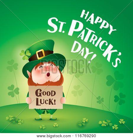 Happy Saint Patricks Day! Leprechaun on the clover field.