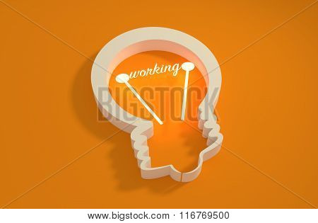 Lamp 3D Outline Icon. Working Text