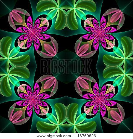 Symmetrical Pattern Of The Flower Petals. Green And Purple Palette. On Black Background.
