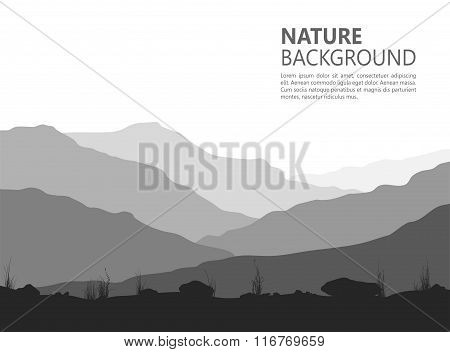 Landscape with huge mountains.