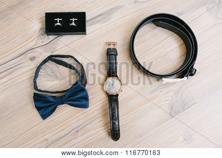 Belt, Watches, Cufflinks And Bow Tie