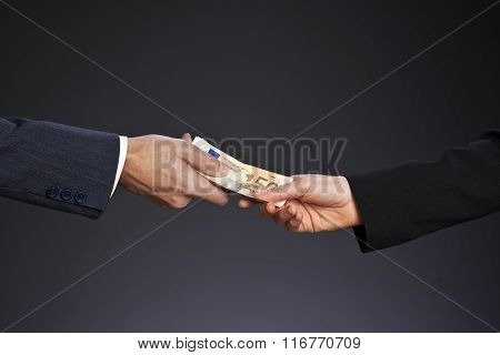 Deal! Businessman paying money