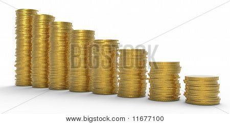 Growth Or Recession: Golden Coins Stacks
