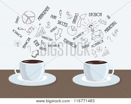 Two cups of coffee or tea on the table with cloud of business words above. Flat cute minimal vector