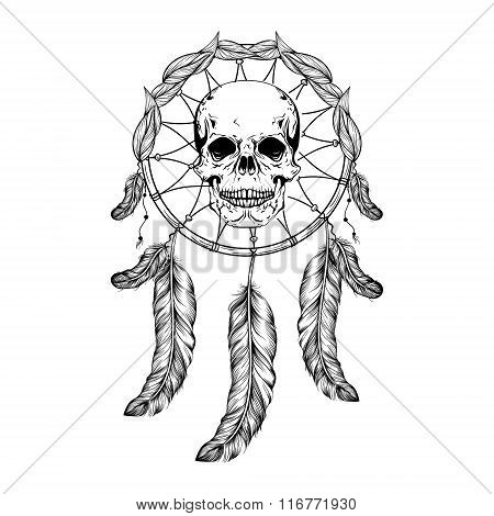 Dream catcher with feathers and leafs, skull in center maden in