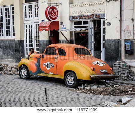 Old Taxi In Broken Street, Havana, Cuba