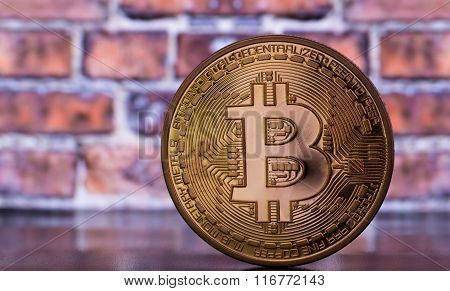 Bitcoin On Brick Wall