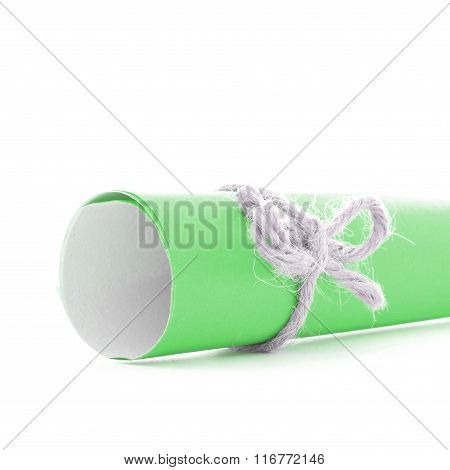 Handmade Natural String Bow Tied On Green Letter Tube Isolated