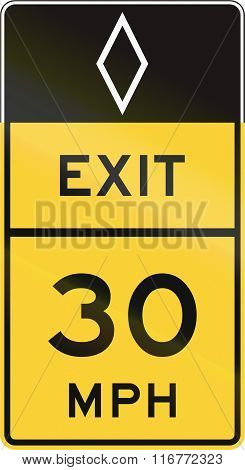 United States Mutcd Road Sign - Exit With Advisory Speed Limit