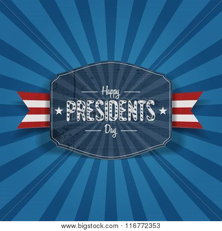 Retro blue Banner with Happy Presidents Day Text