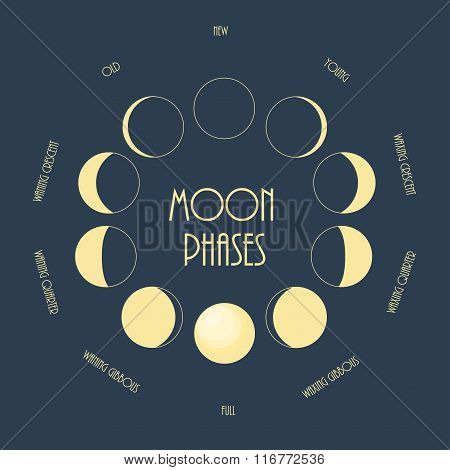Six moon phases. Minimal flat vector illustration.