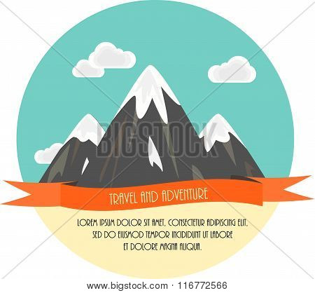Travel and adventure. Beautiful minimal flat vector illustration. Mountains and clouds.