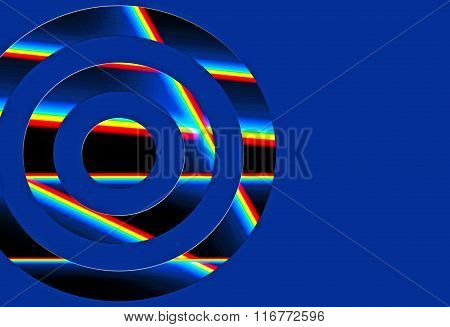 Prisms of light within a cut out circle on a vibrant blue background