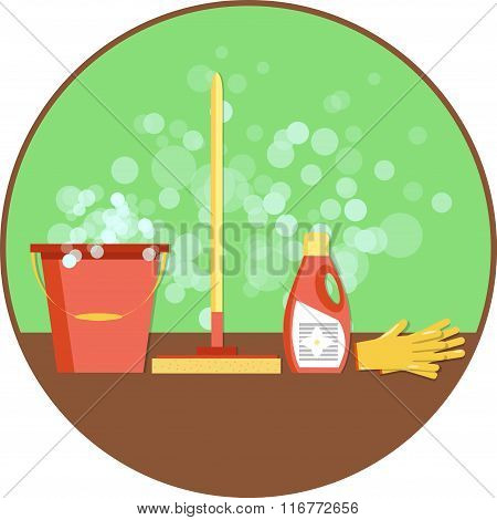 Concept of cleaning. Flat vector set of cleaning tools and household supplies. Minimal vector graphi