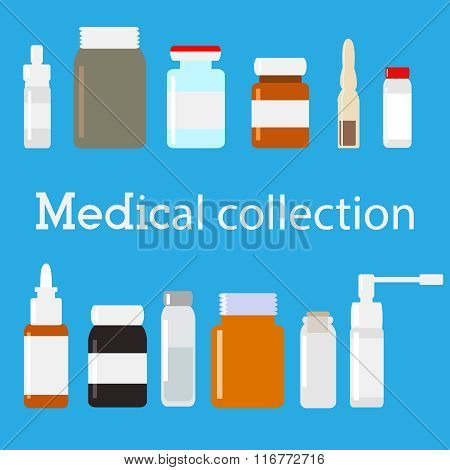 Vector medical bottles collection. Minimal flat illustration. Medicine set.
